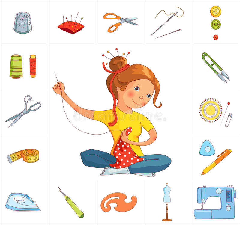 Seamstress girl and sewing tools, line vector vector illustration