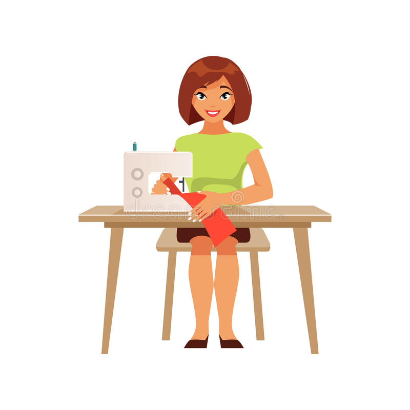 Seamstress housewife vector illustration