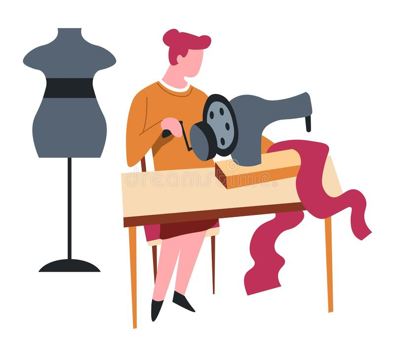 Seamstress isolated female character sewing machine and dummy stock illustration