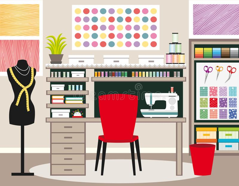 Seamstress`s office. Dressmaker workspace. Sewing illustration II. Green tones. stock illustration