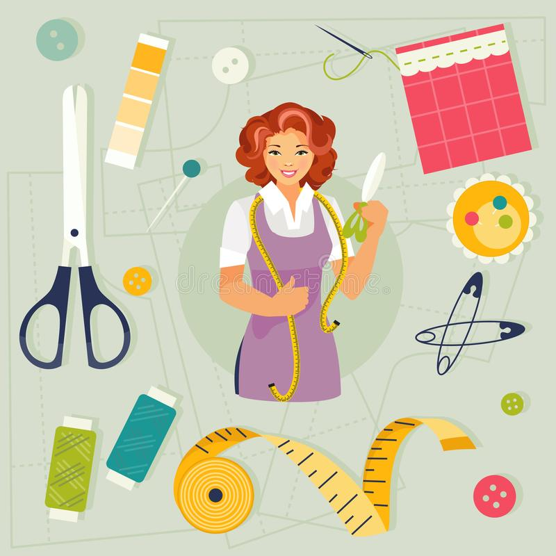 Seamstress and sewing accessories royalty free illustration
