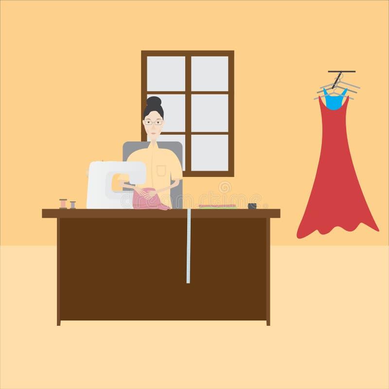 Seamstress royalty free illustration