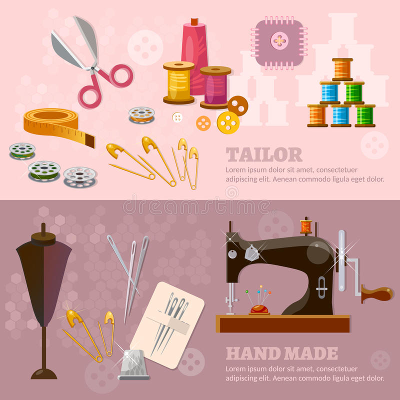 Seamstress and tailor banners sewing machine stock illustration