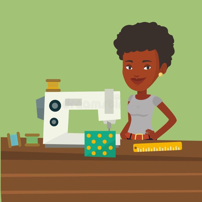 Seamstress using sewing machine at workshop. royalty free illustration