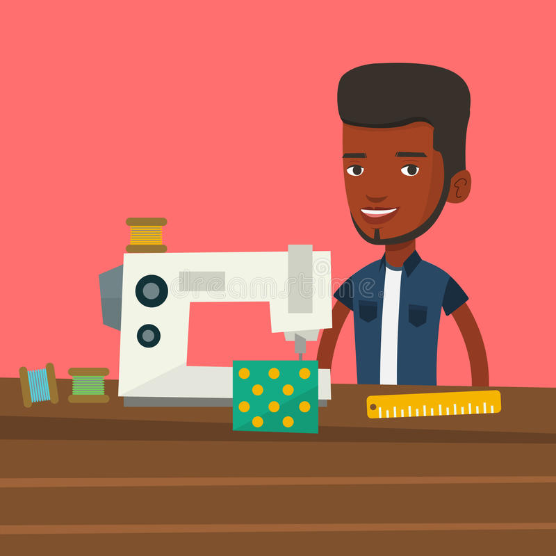 Seamstress using sewing machine at workshop. African male seamstress working in cloth factory. Male seamstress sewing on an industrial sewing machine stock illustration