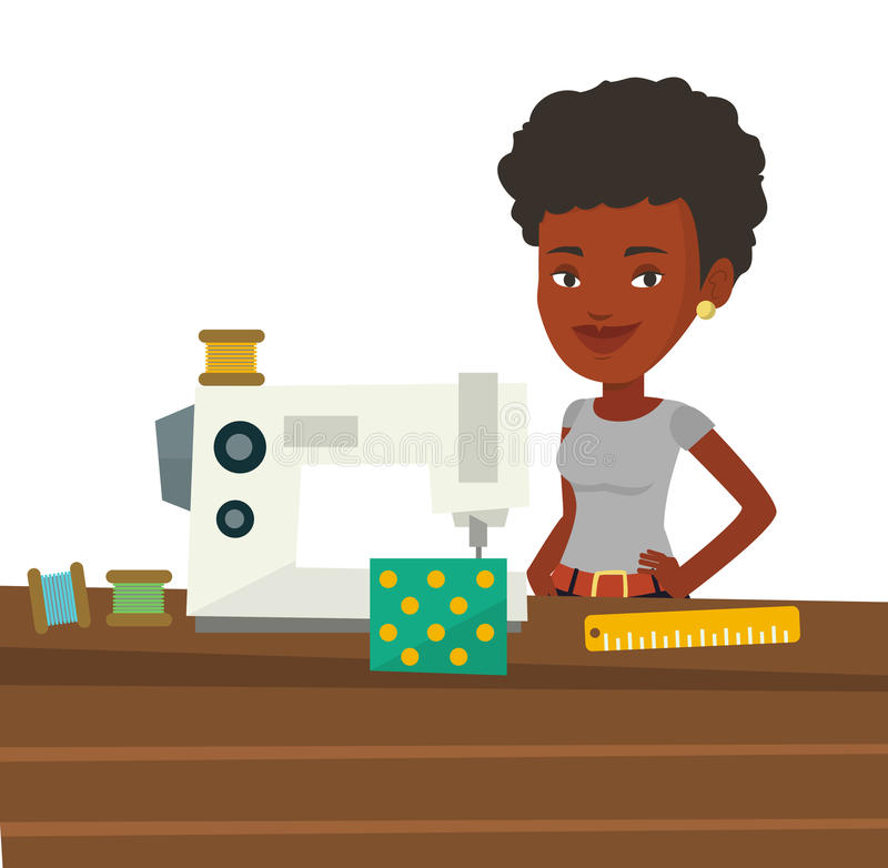 Seamstress using sewing machine at workshop. African seamstress working in cloth factory. Seamstress sewing on industrial sewing machine. Seamstress using vector illustration