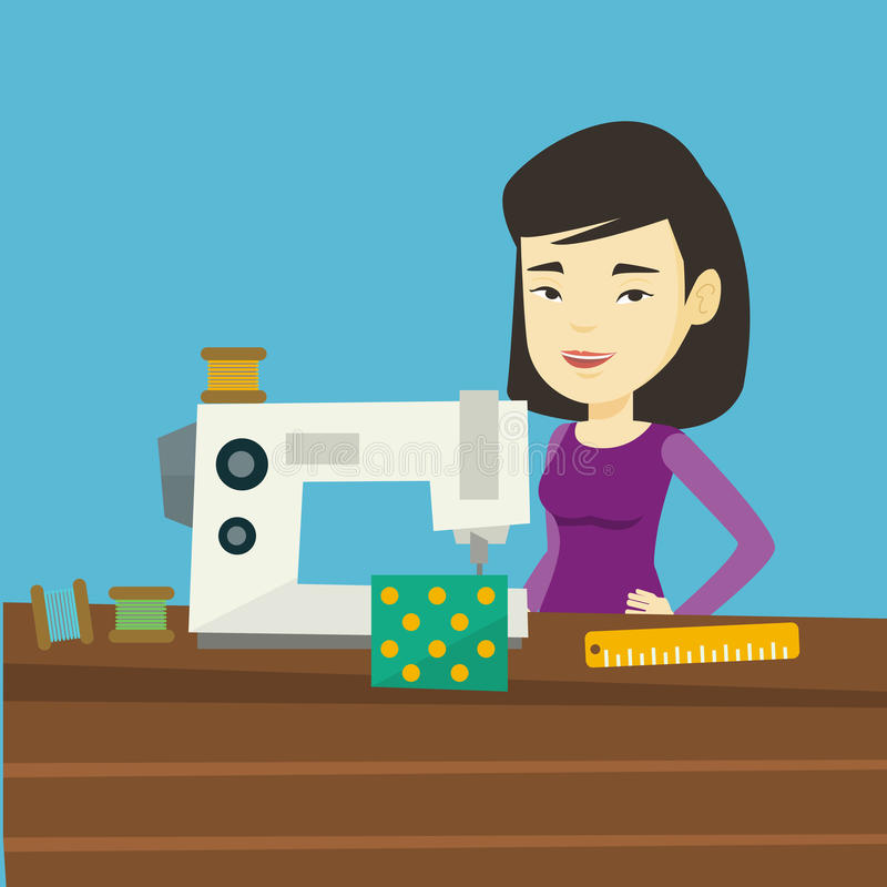 Seamstress using sewing machine at workshop. stock illustration