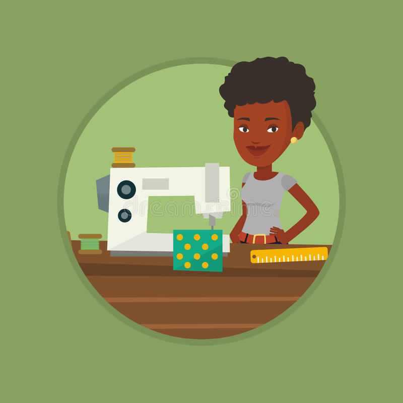 Seamstress using sewing machine at workshop. vector illustration
