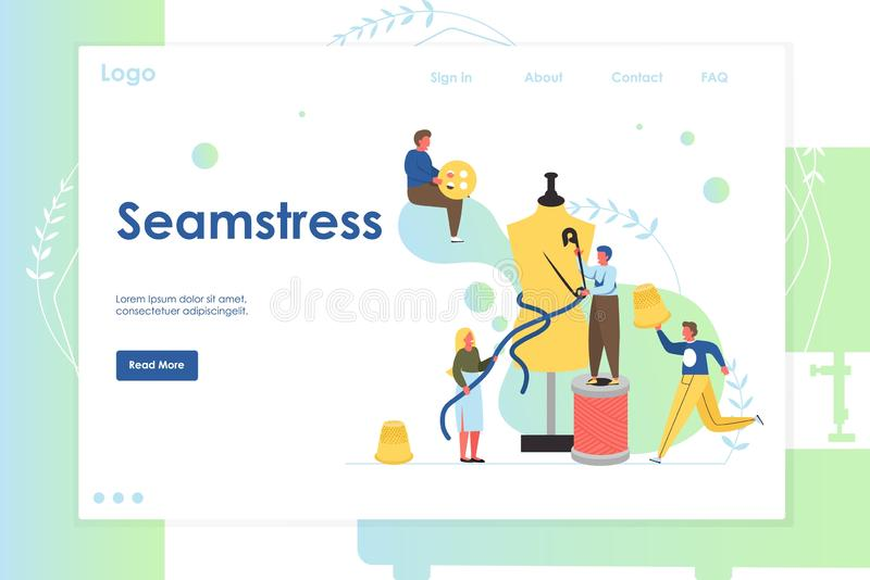 Seamstress vector website landing page design template. Seamstress vector website template, web page and landing page design for website and mobile site royalty free illustration