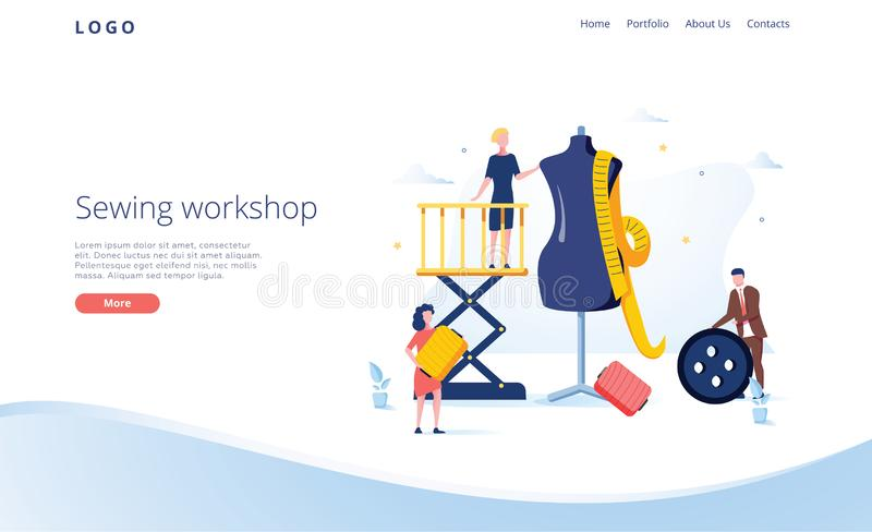 Seamstress vector website template, web page and landing page design for website and mobile site development. Sewing. Workshop, atelier, custom clothing with royalty free illustration