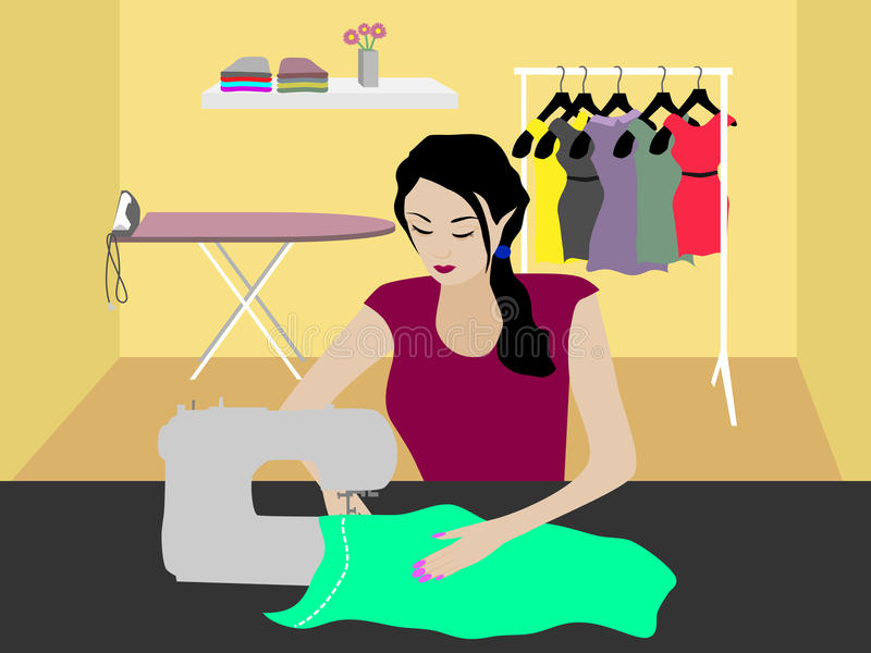 Seamstress. Women sewing on the sewing machine vector illustration