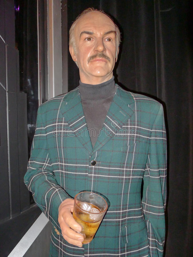 Sean Connery. Wax statue at Madame Tussauds, Las Vegas. Actor Sean Connery best known for his role as the original James starring in seven Bond films stock photo