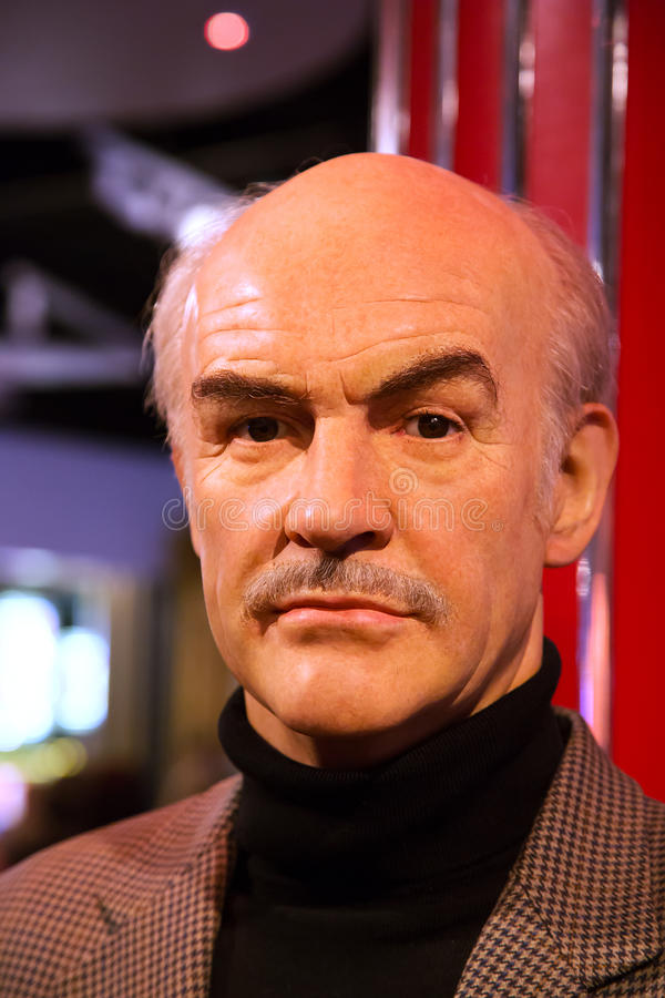 Sean Connery in Madame Tussauds of London. London, United Kingdom - May 25, 2016: Wax figure of Sean Connery in Madame Tussauds Museum stock image