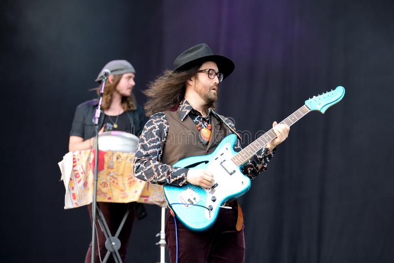 Sean Lennon, frontman of The Ghost of a Saber Tooth Tiger band. BARCELONA - MAY 30: Sean Lennon, frontman of The Ghost of a Saber Tooth Tiger band, performs at stock photography