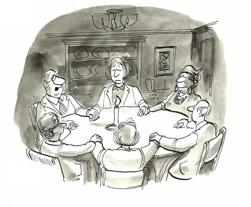 Seance. The family was having a seance to talk with their ancestors royalty free illustration