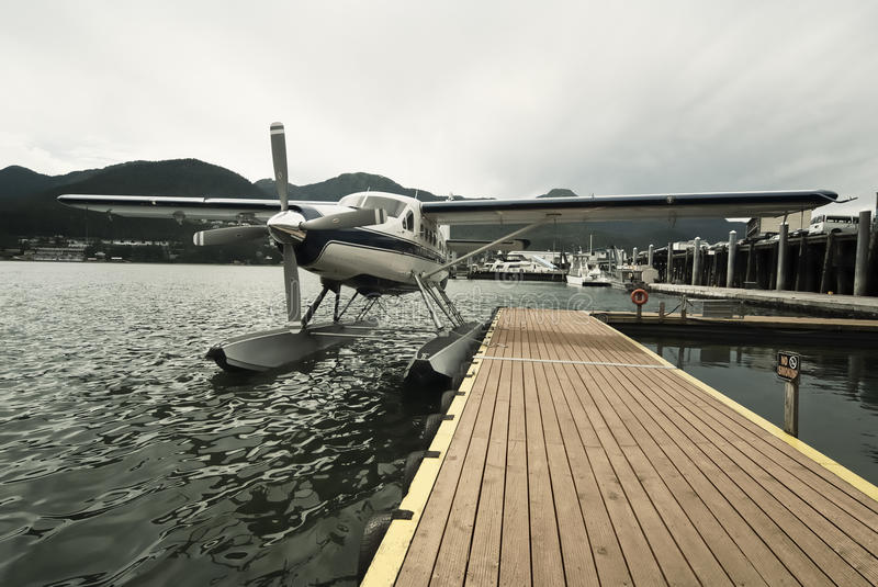 Seaplane at dock in Juneau stock photos