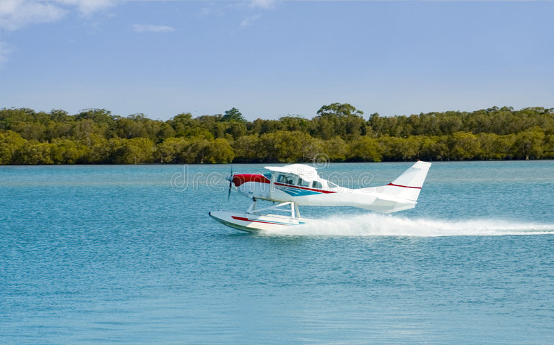 Seaplane Floatplane Takeoff stock photography