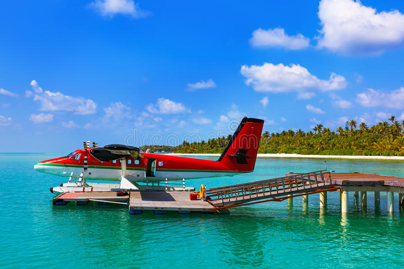 Seaplane at Maldives royalty free stock image