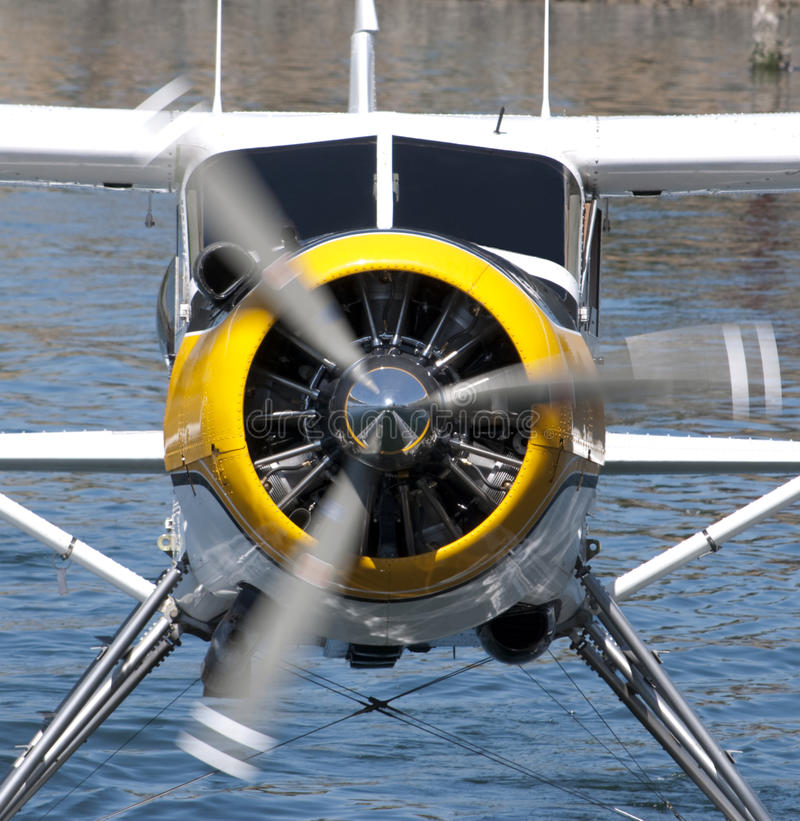 Seaplane motor and propeller stock images