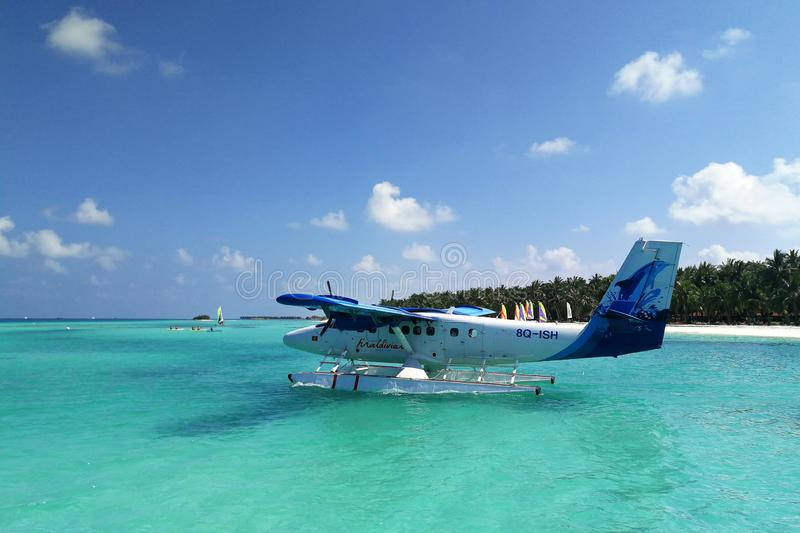 Seaplane ready to take off on blue ocean royalty free stock images