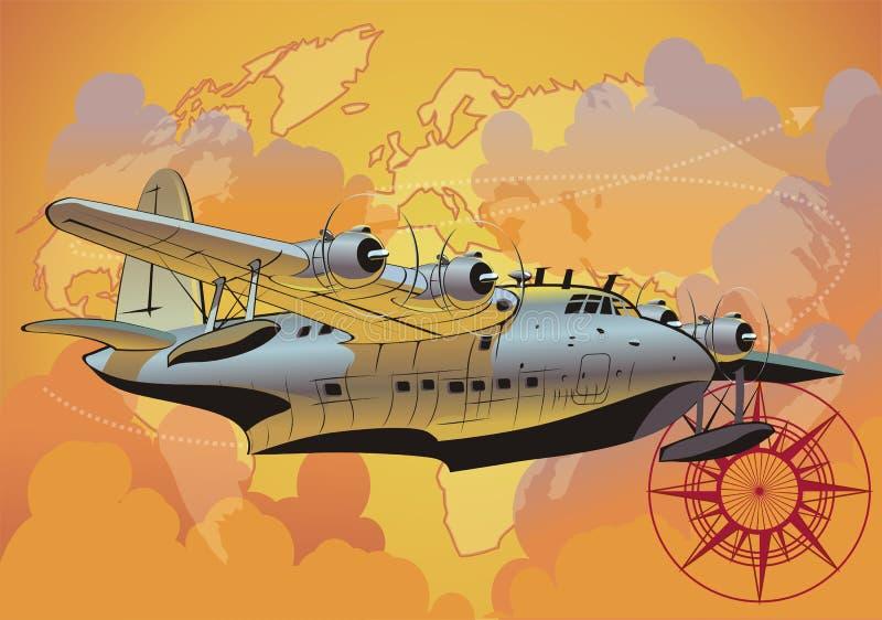 Seaplane retro do vetor ilustração do vetor