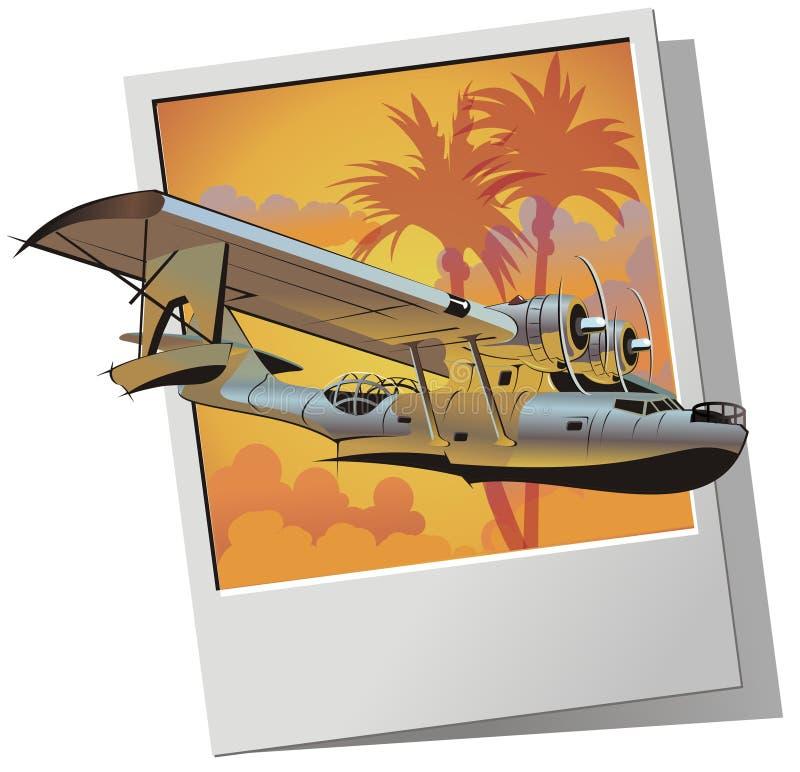 Seaplane retro do vetor ilustração stock