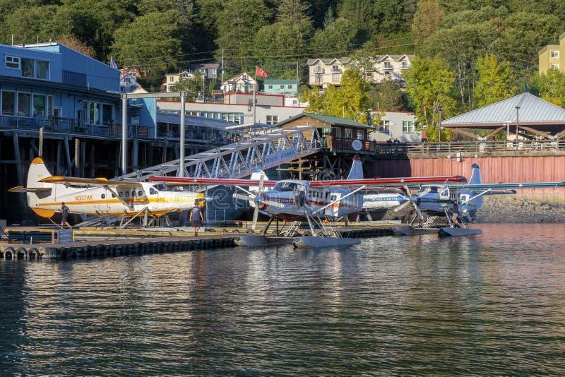 Seaplanes in Juneau harbor Alaska. stock image