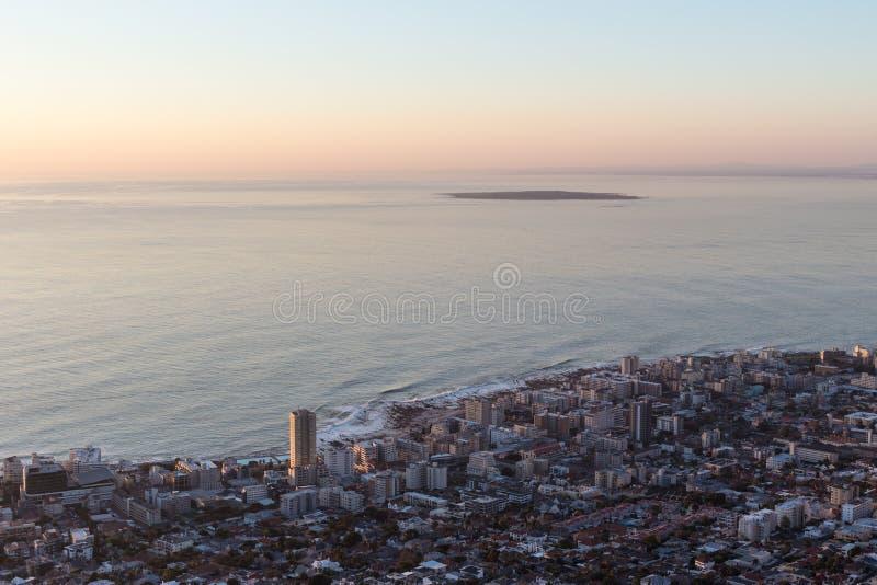 Seapoint et île de Robben photographie stock libre de droits
