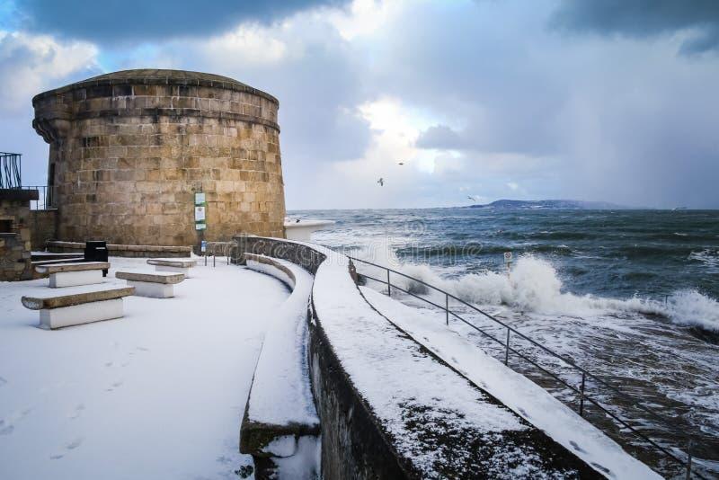 Seapoint Martello wierza Okręg administracyjny Dublin Irlandia zdjęcie royalty free