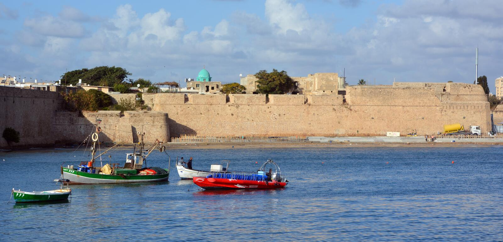 Seaport Akko. ACRE ISRAEL 01 11 16: Seaport Akko Acre, estimated to be about 4,000 years old, is one of Israel most ancient cities and is located on the shores royalty free stock photography