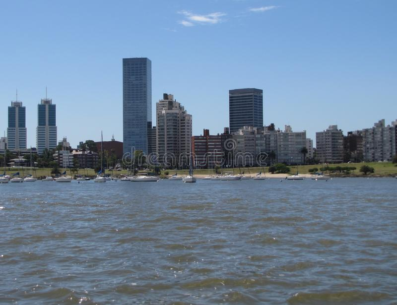 Seaport and avenue Montevideo royalty free stock photos