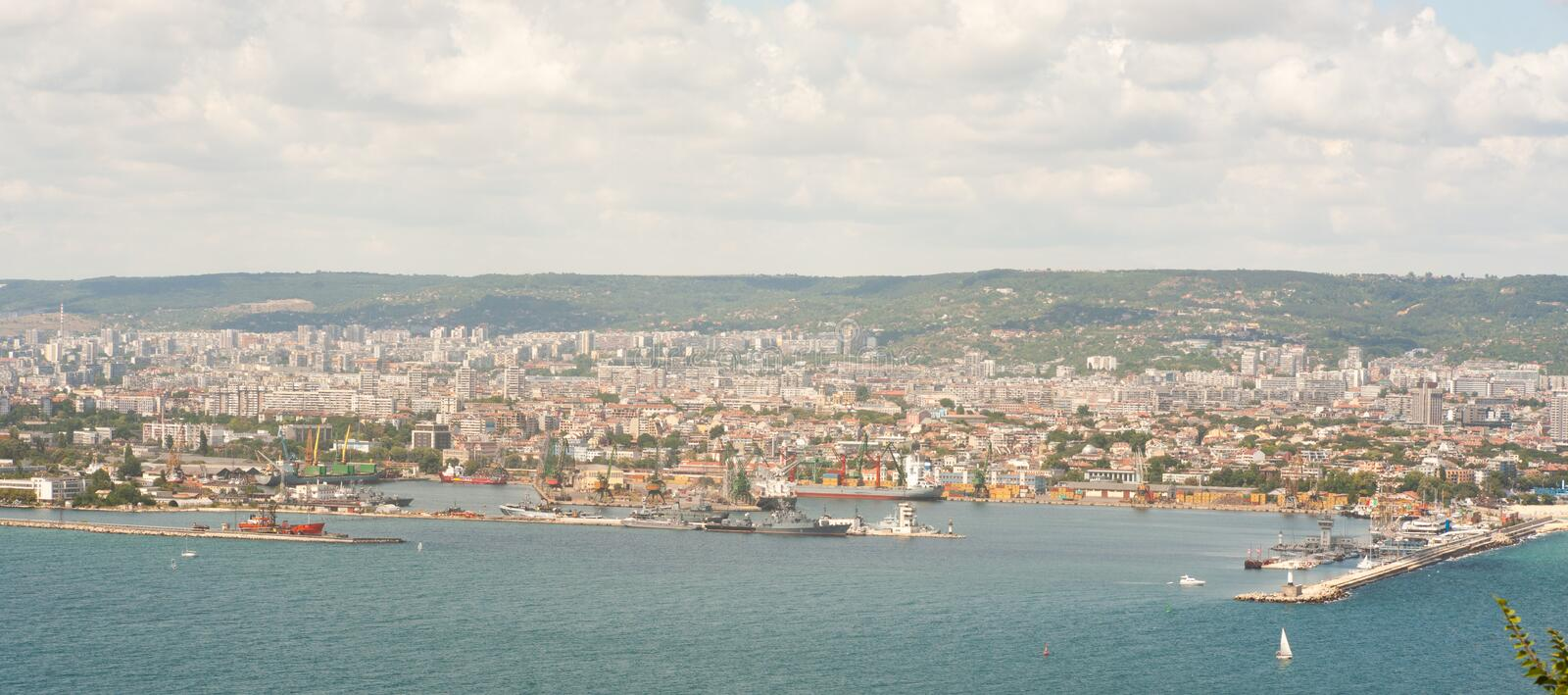 Seaport in the Bay of Varna stock photography