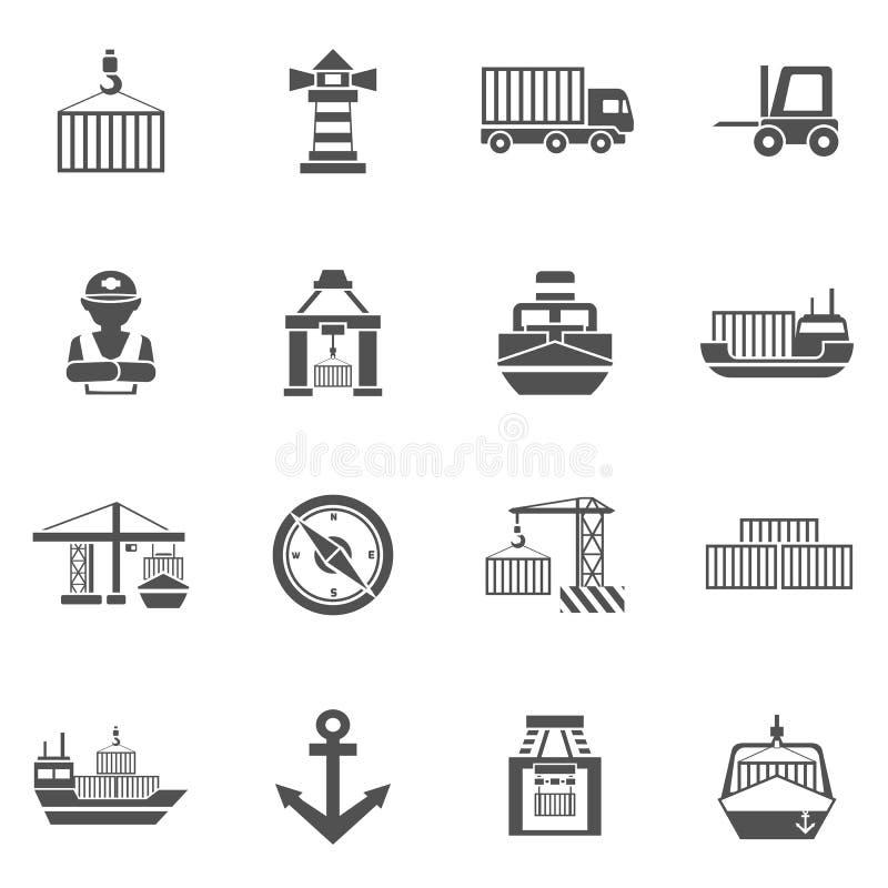 Free Seaport Black Icons Set Stock Photography - 62797332
