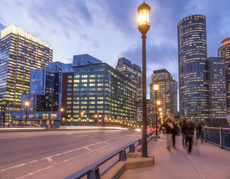 Boston at night. By the Seaport Boulevard, Boston at night with its mix of contemporary and historic architecture stock images