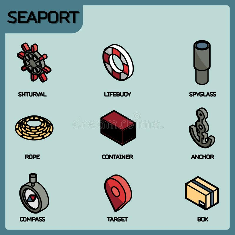 Seaport color outline isometric icons vector illustration