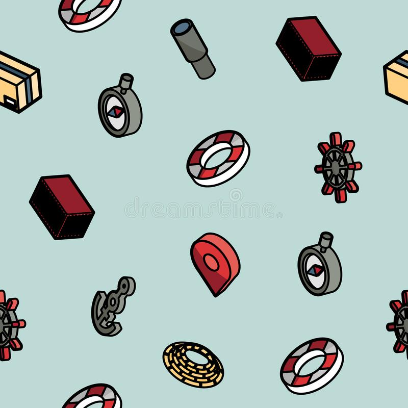 Seaport color outline isometric pattern stock illustration