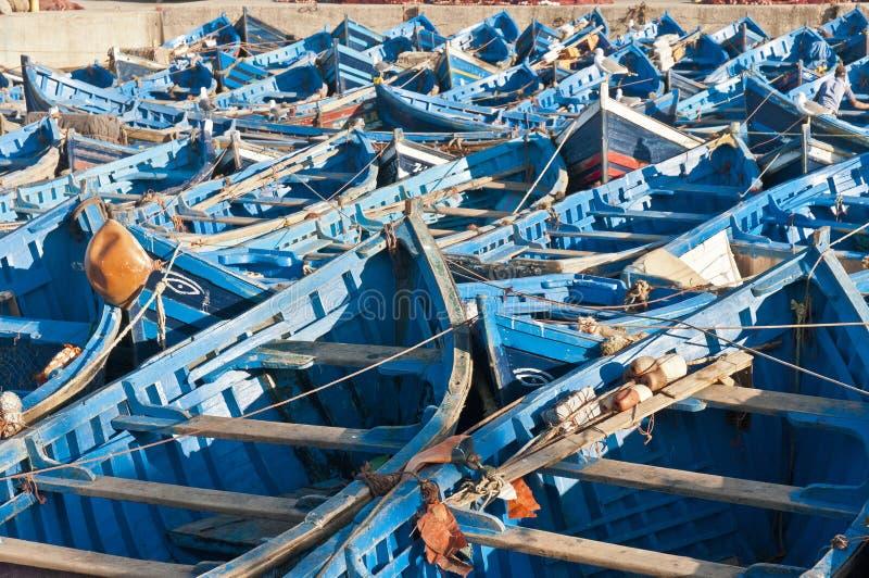 Seaport of Essaouira, Morocco. Typical blue boats at Seaport of Essaouira, Morocco stock photography