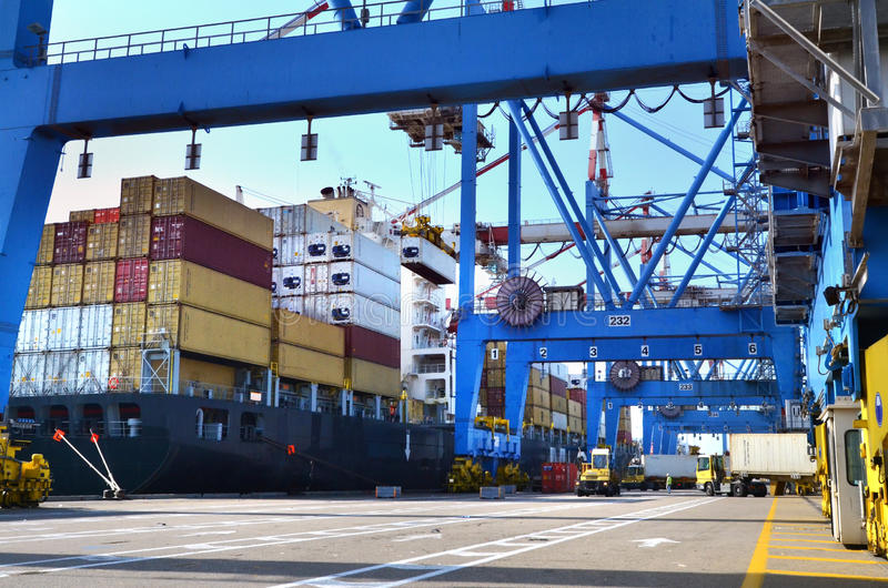 Seaport Freight with Shipping Cargo stock image