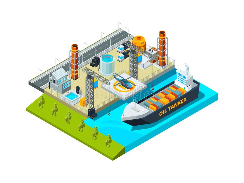 Seaport isometric. Cargo ship oil tanks seaside industrial buildings vessel and fuel farms vector 3d illustration stock illustration