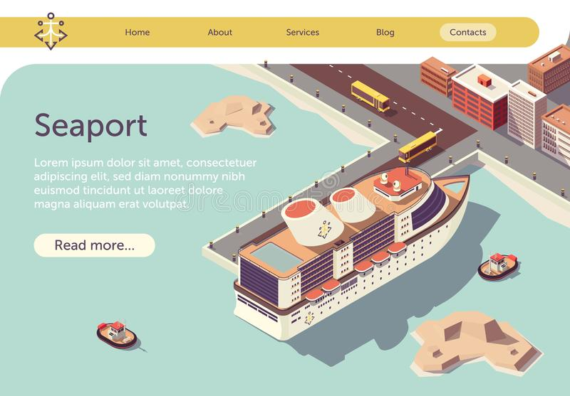 Seaport Isometric Text Banner with Ocean Liner vector illustration