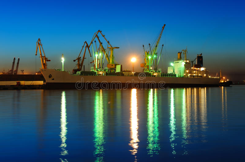Download Seaport at the night stock image. Image of container - 14837161