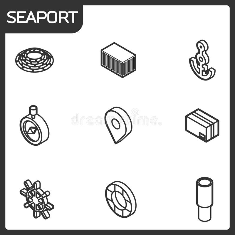 Seaport outline isometric icons vector illustration