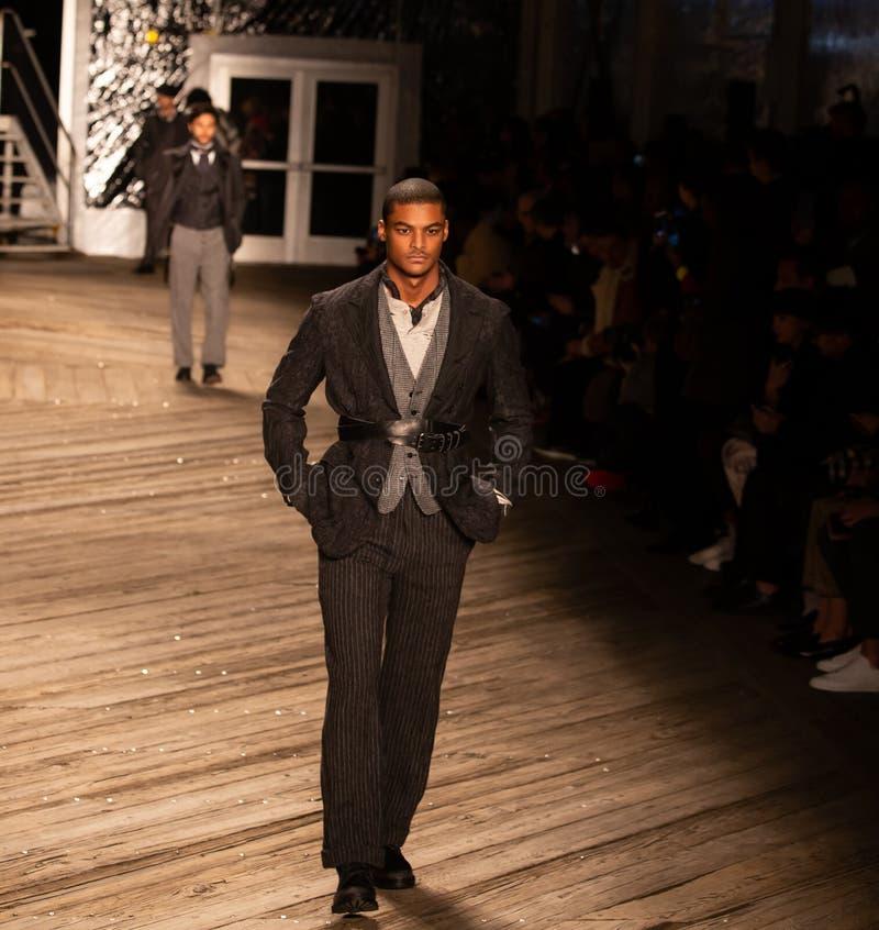 Joseph Abboud Mens Fall 2019 Fashion show as part of New York Fashion Week. Seaport, Pier 16, Manhattan, New York - February 4, 2019: Joseph Abboud Fashion show stock photos