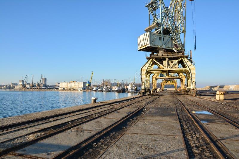 Seaport and port cranes. Burgas, Bulgaria royalty free stock image