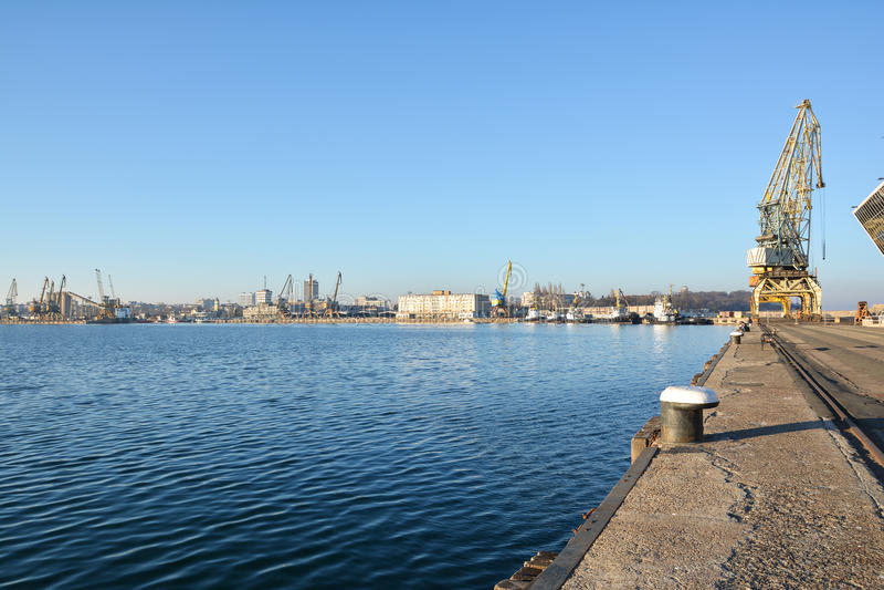 Seaport and port cranes. Burgas, Bulgaria royalty free stock photo