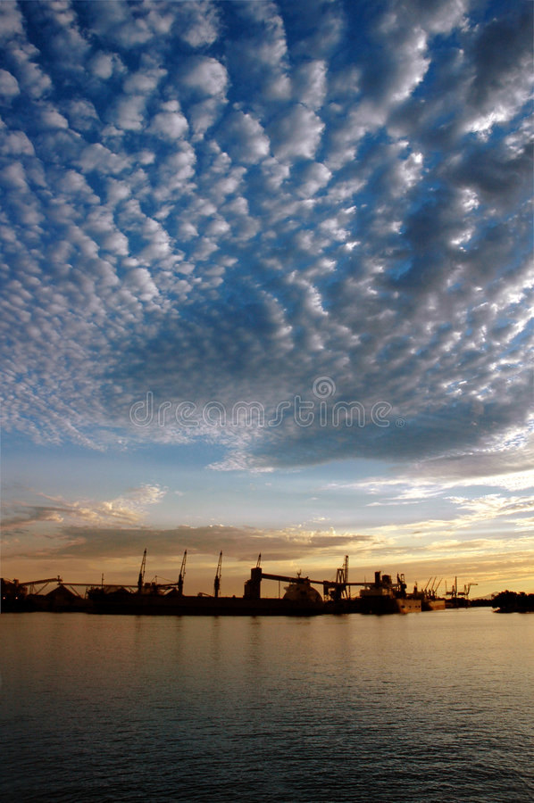 Seaport and Sky At Sunset stock image