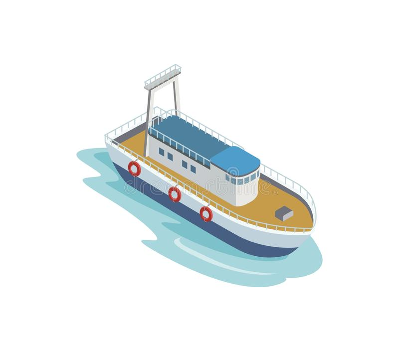 Seaport tugboat isometric 3D element royalty free illustration