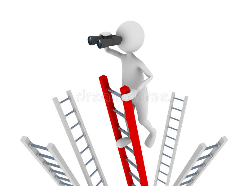 Search. Concept representing 3D man climbing to the top of a ladder and ing with the help of binoculars