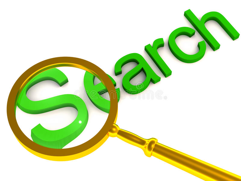 Search. Concept image, magnifying glass over the word stock illustration