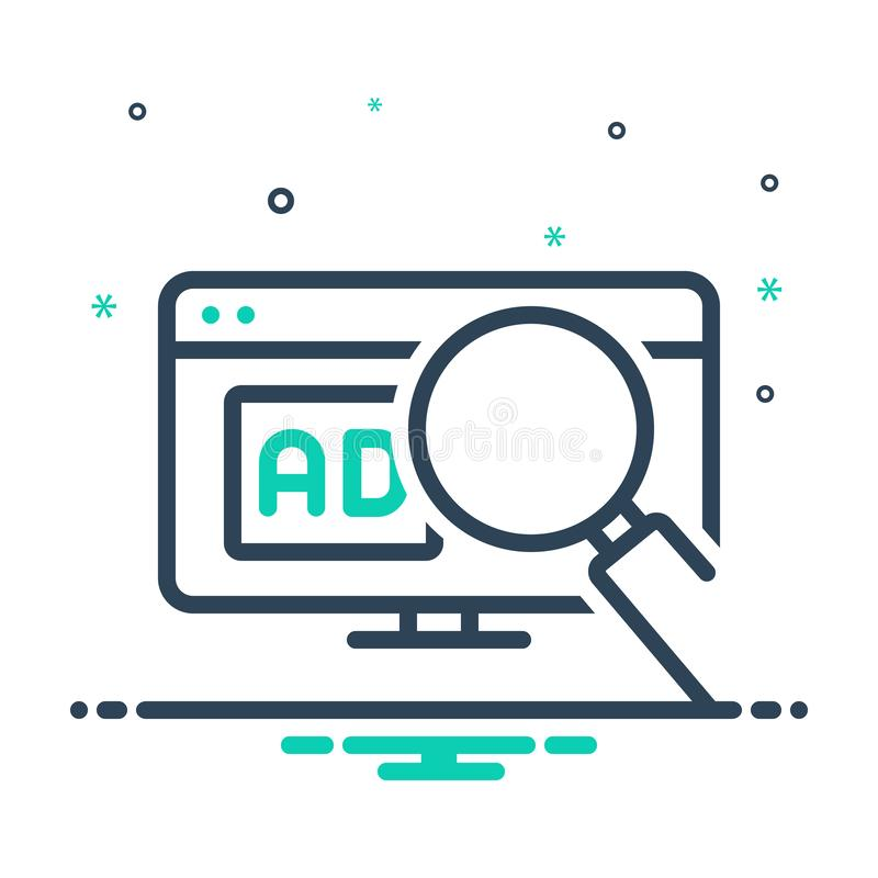 Mix icon for Search Ad, digital and magnifier. Mix icon for Search Ad, online, promotion, advertisement, technology,  digital and magnifier vector illustration